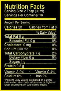 Micanopy Gold Salsa Nutrition Facts